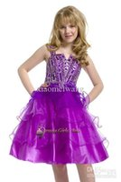 Cheap Spaghetti rhinestones layer ruffles knee length tulle wedding formal evening flower girls pageant dresses ball gowns perfect angels pre-teen