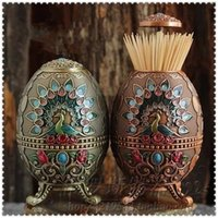 automatically eggs - Peacock painting creative toothpick boxes embossed cans automatically snap together metal egg shaped toothpick holder barrel