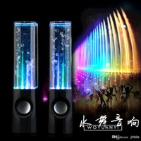 Cheap Dancing Water Speaker Music Audio 3.5MM Player USB LED Light 2 in 1 Mini Colorful Water-drop Speakers for Iphone 6 5 Samsung Computer JF-A4