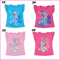 top brand t-shirts - 2014 Brand New chiffon Cute Frozen Elsa Princess Olaf prime girls girl short sleeve t shirt top tees cartoon cotton t shirts