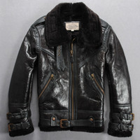 air force belts - Fall Men Leather Jacket Fur One The Air Force Flight Suit Lapel Belt Wool Imitation Crocodile Sheepskin Winter Coat