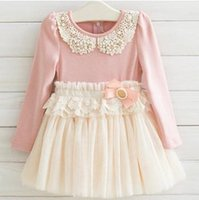 Wholesale 2015 New Arrival Kids Dress Korean Style Spring And Autumn Long sleeve Dress Pearl Bowknot Grenadine Children Dress Girls clothes