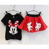 Cheap 2015 baby summer girls clothes set Mickey minnie mouse clothing sets kids clothes 100% cotton Lovely Minnie dress set