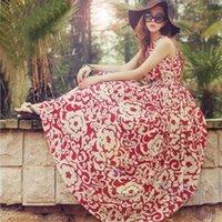 Cheap Cheapest Women Summer Chiffon Long Dress Boho Maxi Sleeveless O-Neck 2014 Casaul Dresses New Beach Print Chiffon Dress Vestidos