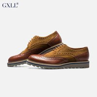 Cheap 2015 GXLL Men Dress Shoes British Style Oxford Brogues Low Heels Carved Casual Shoes Genuine Leather Three Colors Plus Size