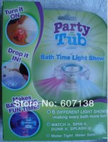Cheap Wholesale-20pcs lot New item bathtub light-up toy Waterproof Led Light Toy PreTeens Bath Tub Tizzies Good Sell! Retail Package