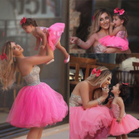 single flowers - 2016 Sparkly Beaded Mother And Daughter Prom Dresses Lovely Tulle Family Clothing For Special Occasion Flower Girls Formal Party Dresses