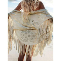 Wholesale CHOIES New Women Cut Out Summer Beach Cover Up Kimono Long Fringes Tassels Thin Coat Cardigan Jacket