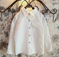 kids fabric cotton - 2015 Spring Solid Girls Shirts Long Sleeve Shirt with Pockets Washed Fabric Cotton Shirt Kids Tops Children Clothing White Pink K3669