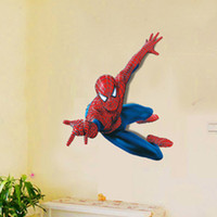 PVC attack wall - 3D Cartoon Spiderman Hero Wall Stickers Decal for Kids Bedroom Nursery Decoration Removable PVC Spiderman Attack Wall Art Stickers Murals