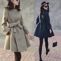 Wholesale Hot Fashion Women Wool Blend Long Coats with Belt Charming Winter Thicken Long Sleeve Long Women Coat Outwear High Quality Wool Coats