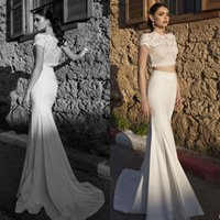 Wholesale Fashion Mermaid Two Pieces Backless Wedding Dresses Applique Bateau Neck Short Sleeve Sweep Train Riki Dalal Bridal Gown