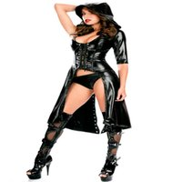 rubber clothing - Sexy Black Faux Leather Costume Women Female Latex Stage Clothing Rubber Sex Lingerie Clubwear Exotic Teddies Jumpsuit Bodysuit