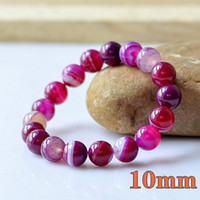 Wholesale Rose color Charm natural agate precious stone Round Shape Beads Lava Stone chakra healing Bracelets Jewelry Gift