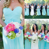 Wholesale Cheap Light Blue Bridesmaid Dresses Sweetheart Pleated Chiffon Floor Length Long Column Elegant Prom Gowns Lace up Back Custom Made B71