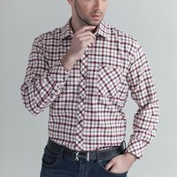 big mens work clothes - New Arrival Mens Clothing Business Casual Man Shirts Plaid Shirts Blouse Cotton For Male Long Sleeved Work Shirts Big Size