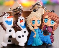 Wholesale 3D Cartoon Movie Frozen keychain Elsa Anna Olaf keychains dolls Styles to Choose