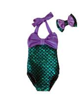 Wholesale PrettyBaby bowtie Fashion Princess Girls Mermaid Swimsuit one piece Kids Toddler Bikini Suit Child Swimwear Children Bathing