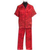 mens sleepwear - Mens Pajama Sets Short sleeved Romantic Roses Printed Satin Sleepwear Couple Hoolymoon Sleepwear Men s