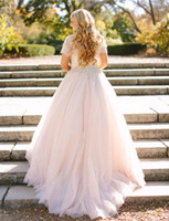 Wholesale Short Sleeved Ball Wedding Gowns - Blush Pink Peplum Wedding Dress Lace Long Sleeved Puffy Tulle Skirt Crystal Beaded Jewel Neck Plus Size Bridal Gowns Sleeves Elegant