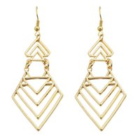 Wholesale New Fashion Punk Rock Hollow out Vintage Style Gold SilverGeometric Drop Earrings For Women Accessories
