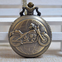 Wholesale New Fashion Vine Motorcycle Design Quartz Pocket Watch Pendant Necklace Chain Men Women Pocket Watch Gift