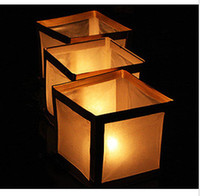 Wholesale 30pcs Square Shape Chinese Floating Water Lanterns Paper Craft for Party Wedding Decoration Paper Lantern