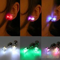 Wholesale One Pair Light Up Led Stainless Steel Earrings Studs Dance Party Accessories for Xmas