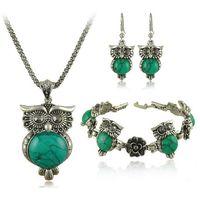 Wholesale New Brand Design Owl Jewelry Set Tibetan Vintage Silver Retro Turquoise Stone Pendant Necklace Cute drop Earring Charm Bracelet Sets S0011