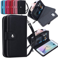 Wholesale Zipper leather wallet case mobile phone PU leather case stand card slot for iphone6 plus S Samsung Galaxy S4 S5 S6 EDGE