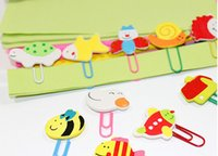 Wholesale XQC073 cartoon painted wooden paperclip cute animal clips bookmarks