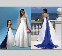 Wholesale Hot Sale Embroidery Royal Blue and White Wedding Dress Gowns Custom Made Backless Satin Bridal Gown Plus Size Wedding Dresses