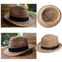 Wholesale 2016 Stylish Summer Bohemian Straw Linen Women Sunhat Ladies Fedora Sun Caps Beach Girls Solid Female Casual Belt Jazz Hats