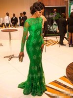 Wholesale 2016 New Arrival Red Carpet Miss Nigeria Mermaid Long Sleeves Green Lace Celebrity Inspired Dress Formal Evening Dresses