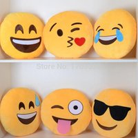 Wholesale Hot new Emoji Smiley Emoticon Round Cushion home Pillow Stuffed Plush Soft Toy EMS
