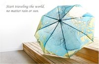 flower umbrella - High quality English World Map umbrella originality Artistic flower cute UV protection Personality Sun umbrella for traveling