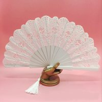 Wholesale Pure White Lace Bridal Hand Fan Spanish Performance Fans Christmas Party Evening Prom Hand Accessories High Quality Wood Fan