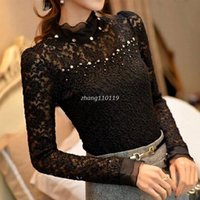 beaded panels - 2016 New Ruffled Collar Long Sleeve Blouses Shirts with Beaded Plus Size Lace Women Blouse Women Clothing Blusas Femininas A0