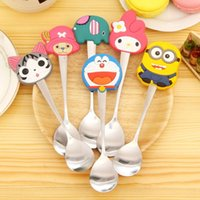Wholesale New Year Gift New Arrive Kawaii Spoon Cutlery Cartoon Silicon Minions Kids Stainless Steel Tableware Spoon Kitchen Accessories