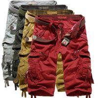 achat en gros de salopettes pour les hommes-100% coton de haute qualité pour hommes occasionnels Cargo Loisirs Demi Pantalon chaud Camouflage Capri Salopette Plage Pantalons courts Hommes