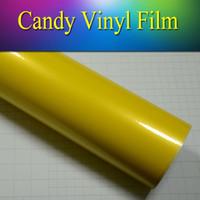 achat en gros de jaune bonbons enveloppés-5 '* 65' film de vinyle jaune de haute qualité de bonbon Film de vinyle brillant élevé pour la carrosserie de voiture nouvel arrivent bulle d'air libre