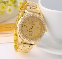 Wholesale Fashion Network with golden Damen full drill large dial watches female new just with gold woman watches