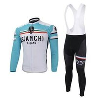 Wholesale 2015 bianchi men cycling Jersey suits in winter autumn with long sleeve bike jacket bib pants in cycling clothing bicycle wear