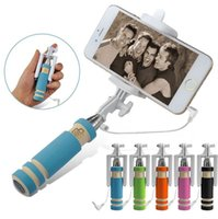 Wholesale mini monopod Selfie Stick with Shutter Button Built In Wired Handheld Fold Self portrait Stick Holder for iphone plus
