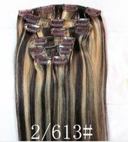 Cheap Free Shipping 16-22 inch 2 613# Color Brazilian Remy Human Hair Clip On Hair Extensions 70g set