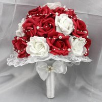 Wholesale Red And White Wedding Bouquets Silk Roses Bridal Flowers Personalized Customized Cheap