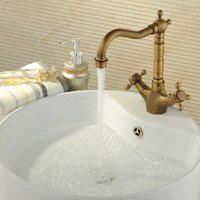 bathroom vanity - Kitchen faucet Antique Brass Bathroom Basin Sink Faucet Swivel Spout Vanity Sink Mixer Tap Single Handle