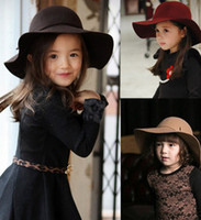 Wholesale Vintage Retro Kids Child Boy Girl Hats Fedora Wool Felt Crushable Wide Brim Cloche Floppy Sun Beach Cap A6963