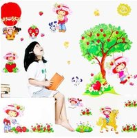 Cheap girl swing wall stickers Best Strawberry girl stickers