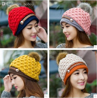 Wholesale On Sale New Autumn Winter Cap Women Warm Woolen Knitted Fashion Hat For Gilrs Cap Woman Hat